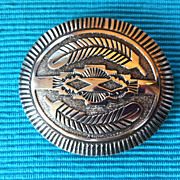 SALE Native American Navajo Sterling Silver Belt Buckle Signed JS Sterling