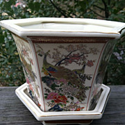 Satsuma Dated 1979 Peacock Planter Japan
