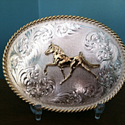 Vintage Montana Silversmith Running Horse Belt Buckle made In USA