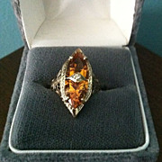 SALE Vintage Estate Marked Elegant 14 K Yellow Gold Citrine Ring 5 3/4