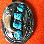 Real Bear Claw And Turquoise Sterling Bolo Bennett