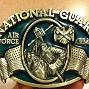 1982 Bergamot National Guard Air Force Army Pewter Belt Buckle