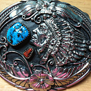 Vintage Turquoise & Coral South Western Indian Belt Buckle
