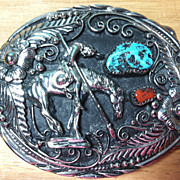 Vintage Genuine Turquoise & Coral Indian Warrior Horse Belt Buckle