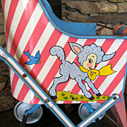 Vintage Metal Lamb Ohio Art Doll Cart Stroller 1950's