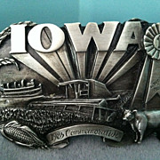 1985 Iowa Commemorative County Fair Farmer Limited Edition Pewter Belt Buckle