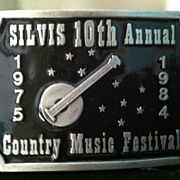 1984 Silvis 10th Annual Country Music Festival Limited Edition Banjo Belt Buckle