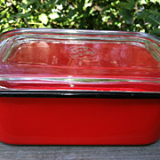 SOLD Vintage Beco Ware Red Enamel Loaf Pan With Glass Lid