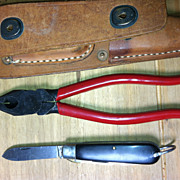 Leather Tool Pouch With Pliers &  Electrician Knife