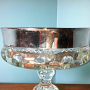 Kings Crown Glass Compote Thumbprint Silver Flash