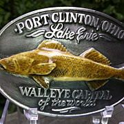 Walleye Capital Of The World Lake Erie Ohio Pewter Belt Buckle 1989