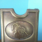 SOLD Rare Heavy Brass Anson Mills Texas Cattlemen Association  Belt Buckle Pat. 1881