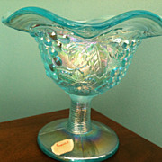 Contemporary Imperial Ice Blue  Carnival  Glass Grape Compote