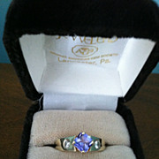 14 Karat Gold Tanzanite and Diamond Ring Size 7 1/4