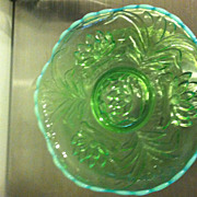 "Antique Fenton Blue Rim  Opalescent Green Glass Cattail Waterlily 10"" Bowl"