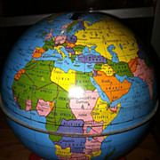 Free Shipping USA Vintage Tin Ohio Art Company World Globe Bank