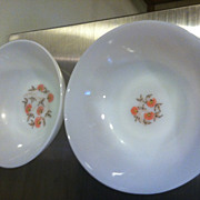 2 Fleurette Fire King  Anchor Hocking 1950's Serving Bowls