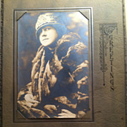 1925 Calendar Season's Greeting Photo Flapper Style Lady