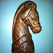 Large Wooden Carved Horse Head Bust