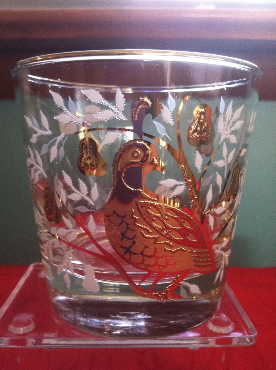 Set of 8 1950's Libbey Partridge In A Pear Tree Glasses 2