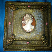 Vintage  Cameo Jewelry Box dated July 29 1924 La Tausca