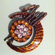 SOLD Vintage Amber and Clear Crescent Moon Rhinestone Pendant