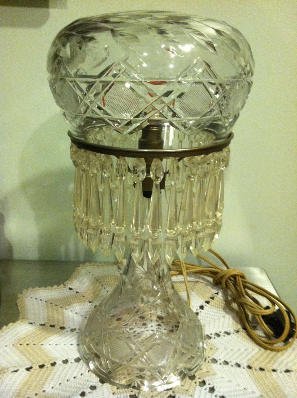 Antique Crystal Cornflower Lamp 1800's
