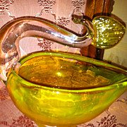 Vintage Yellow  Art Glass Swan Dish