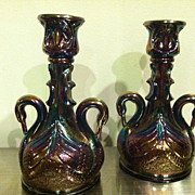 Pair of Fenton Carnival Glass Swan Candle Holders