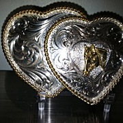 SOLD Montana Silversmith Sterling over Silver Plate Heart Horse Belt Buckle