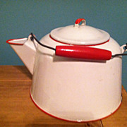 Vintage White with Red Trim Enamelware Tea Kettle Steamer