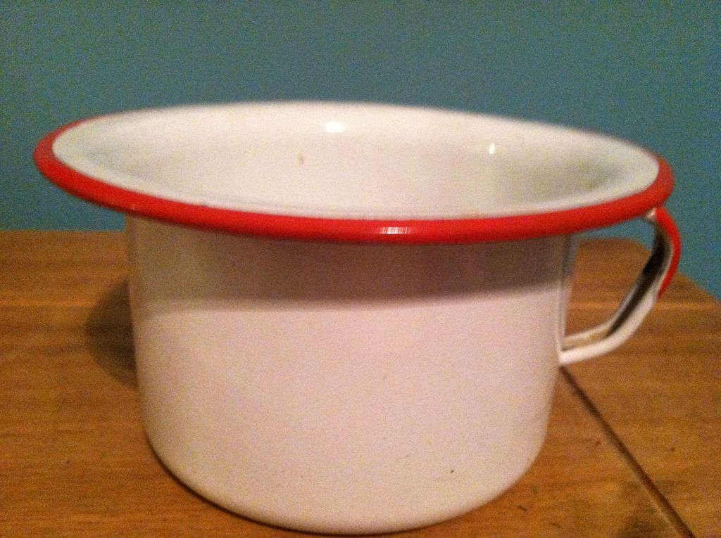 Small White Enamelware Pan  Potty Scoop with Handle Red Trim