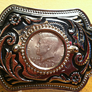 Large Woman's  Coin Belt Buckle Holds Half Dollar Kennedy 1989