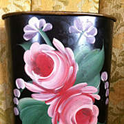 Tole Hand Painted Pink Rose Metal Pencil Can