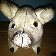 Cast Iron Pig Bank Doorstop Glass Eyes