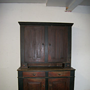 19th Century PA or OH Paint Decorated Dutch Cupboard