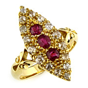 Edwardian Ruby & Diamond Navette Ring, Circa 1905