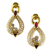 Vintage Chopard Ruby & Diamond Earrings