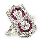 SOLD Vintage Art Deco Diamond & Ruby Ring