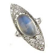 Vintage 1920's Moonstone & Diamond Ring