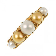 5 Stone Golden & White Pearl Ring Circa 1920