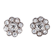 Vintage 1950's Diamond Cluster Earrings