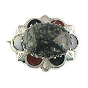 1970's Scottish Agate Brooch Set in Silver
