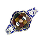 SOLD Victorian Scottish Agate Floral Bangle