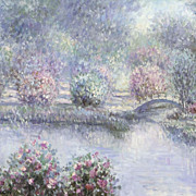 "SALE ""The Lilac Pond"" Vintage Original Oil Painting on Canvas"