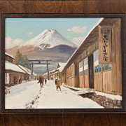 "SALE ""Mt. Fuji"" Hayashi Nobuo, Vintage Original Oil Painting on Canvas"