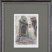 SALE &quot;Rothenburg Door&quot; Medieval Antique Hand-Colored Etching