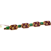 Awesome & Rare 1930's Matte Enamel Czech/German Brass and Rhinestone Bracelet