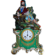 Russian Antique Porcelain Clock With Porcelain Figurine On The Top