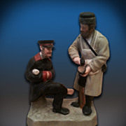 SALE Russian Old Porcelain Figurine Of  a Policeman And a Cobbler